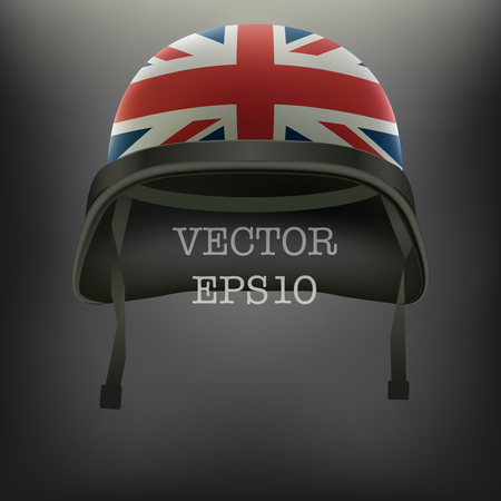 Background Of Military Helmet With British Union Flag Vector