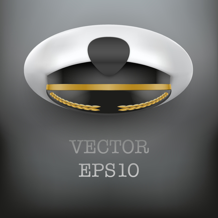 speciality: Background of captain peaked cap with empty cockade vector illustration isolated on white background