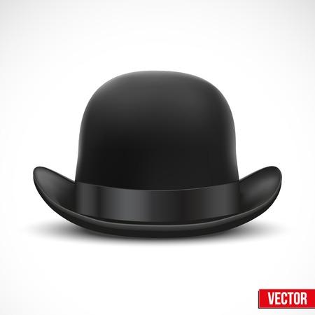 bouliste: Noir chapeau melon avec le ruban de soie Illustration