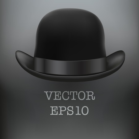 Background of Black bowler hat with silk ribbon Illustration