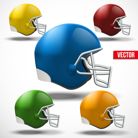 american football helmet set: Set of Realistic American football helmet Illustration
