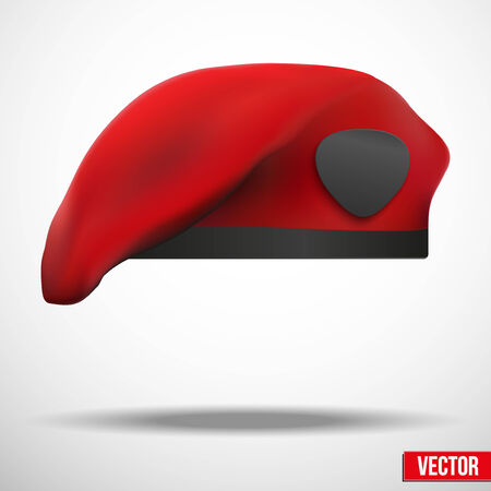 military beret: Background of Military Red Beret of Army Special Forces with empty emblem Illustration