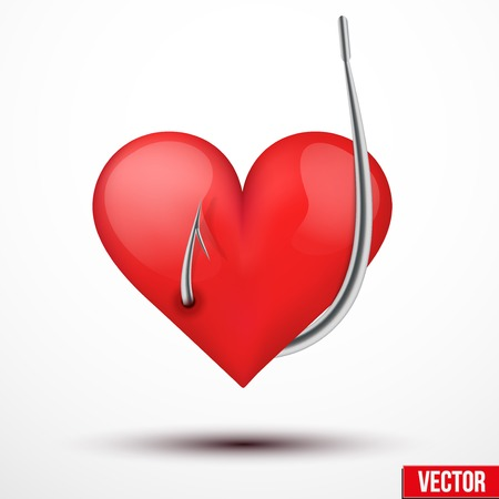 Big bright heart on the hook Vector