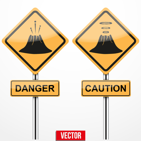 natural phenomenon: Warning road signs about the dangers of the volcano