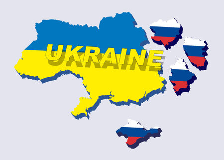 cold war: Separate into parts of Ukraine with russian flag. spring events 2014. The country is divided into regions. Vector illustration Illustration