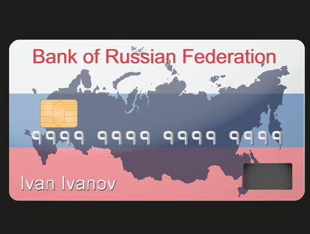 sanction: The example of Russian banking credit card. The new system of calculation and payment after the USA sanctions. Conceptual illustration of the new financial system.  Illustration