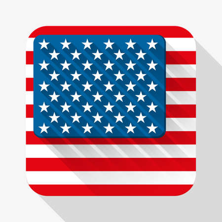 Simple flat icon USA flag. Premium basic design with long shadow effect of web design objects.  Vector