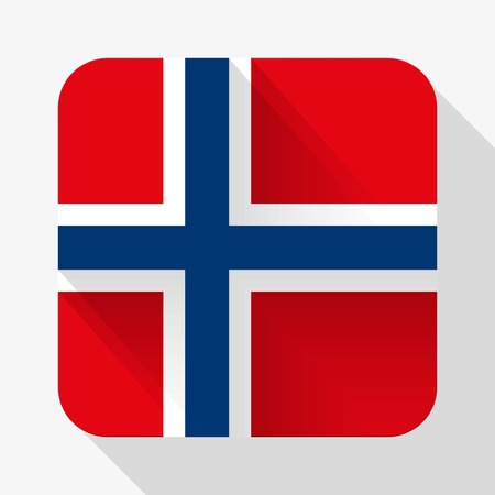 Simple flat icon Norway flag. Premium basic design with long shadow effect of web design objects.  Vector
