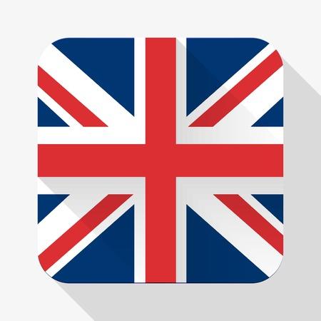 bandera de gran breta�a: Icono simple del plano de la bandera de Gran Breta�a. Dise�o b�sico Premium con efecto de sombra larga de objetos de dise�o web.