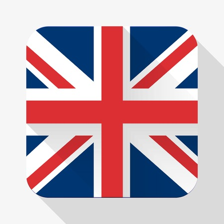 jack in the box: Simple flat icon Great Britain flag. Premium basic design with long shadow effect of web design objects.