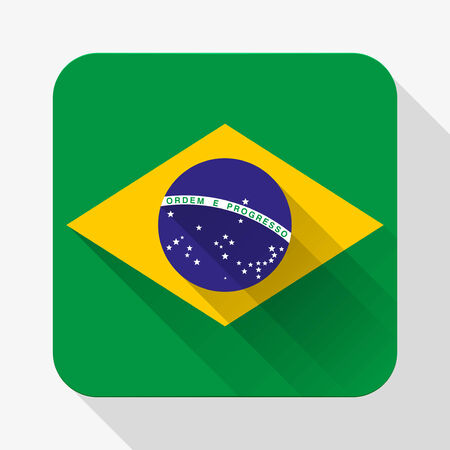 Simple flat icon Brazil flag. Premium basic design with long shadow effect of web design objects. Vector