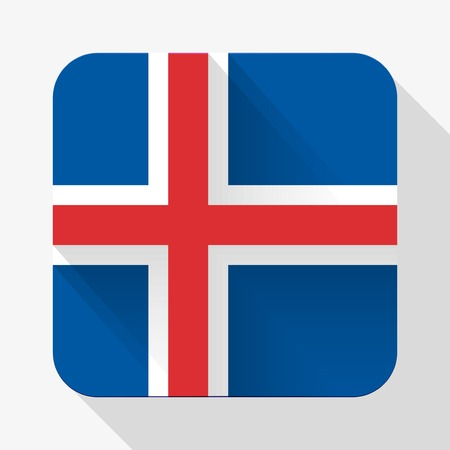 Simple flat icon Iceland flag. Premium basic design with long shadow effect of web design objects.  Vector