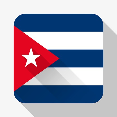 design objects: Simple flat icon Cuba flag. Premium basic design with long shadow effect of web design objects.