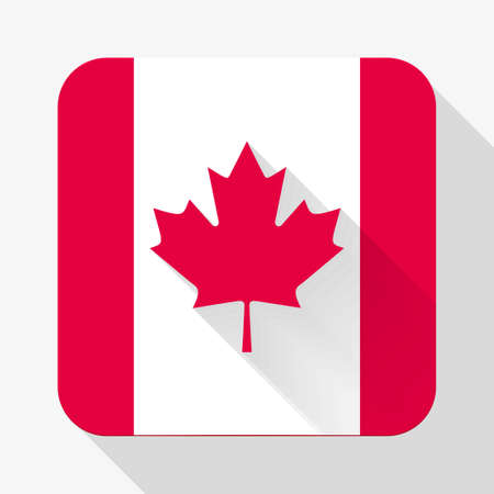 Simple flat icon Canada flag. Premium basic design with long shadow effect of web design objects.  Vector