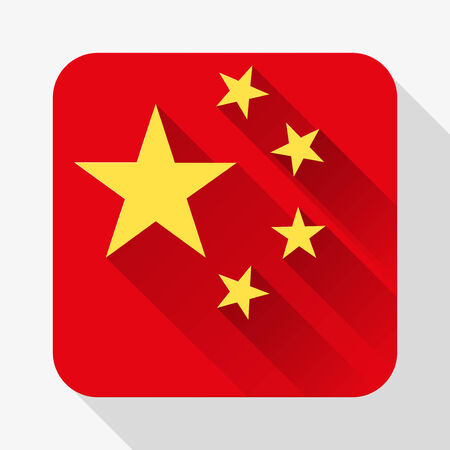 Simple flat icon China flag. Premium basic design with long shadow effect of web design objects.  Vector