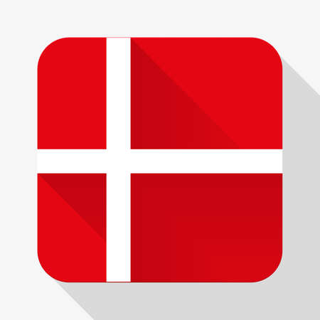 Simple flat icon Denmark flag. Premium basic design with long shadow effect of web design objects.  Vector