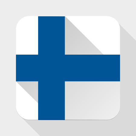 Simple flat icon Finland flag. Premium basic design with long shadow effect of web design objects.  Vector