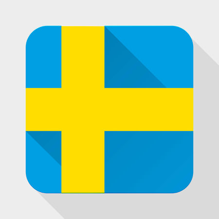 Simple flat icon Sweden flag. Premium basic design with long shadow effect of web design objects.  Vector