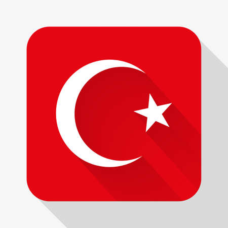 design objects: Simple flat icon Turkey flag. Premium basic design with long shadow effect of web design objects.  Illustration