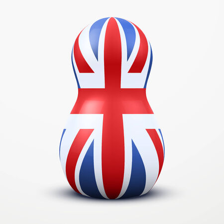 Russian tradition matrioshka dolls in Great Britain flag style. Vector Illustration, eps10. Ilustracja