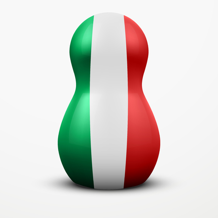 poppet: Russian tradition matrioshka dolls in Italy flag style. Vector Illustration, eps10. Illustration