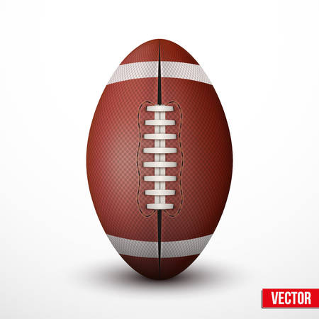 college footbal: American Football ball isolated on a white background. Realistic Vector Illustration.