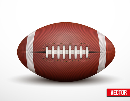 American Football ball isolated on a white background. Realistic Vector Illustration.