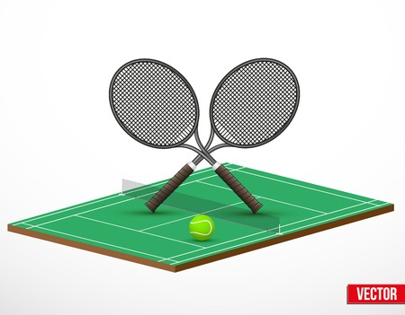 Symbol of a tennis game and court in three-dimensional space. Vector illustration. Vector