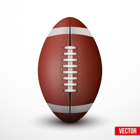 footbal: American Football ball isolated on a white background. Realistic Vector Illustration.