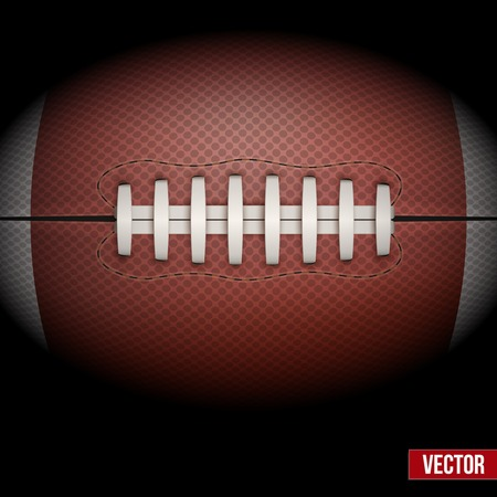 pigskin: Dark Background of American Football ball isolated. Realistic Vector Illustration.
