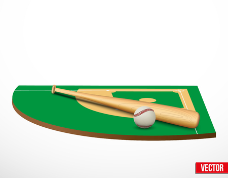 Symbol of a baseball game and field in three-dimensional space. Vector illustration. Vector