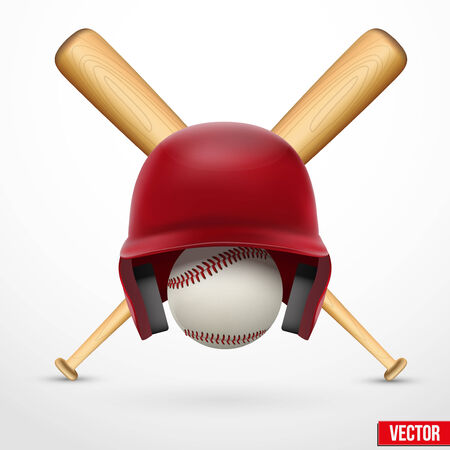 Vector illustration of realistic Symbol of a baseball. Helmet, ball and bats. Isolated of background. Vector