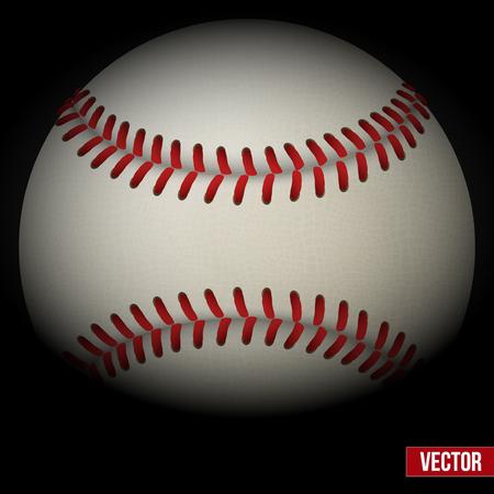 Dark Background of realistic baseball leather ball. Vector illustration. Illustration