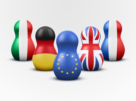 poppet: Main members of the European Union in the form of nesting dolls with flag colors. Vector Illustration.