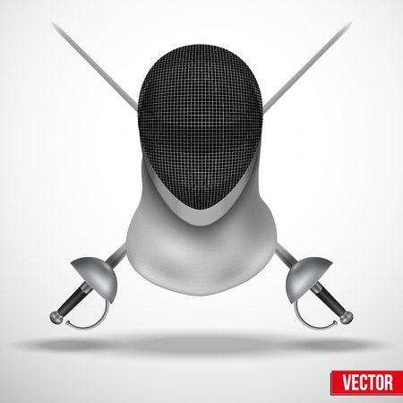 Background of Fencing symbol. Epees and helmet mask. Traditional sport defense and attack. Vector illustration. Vector