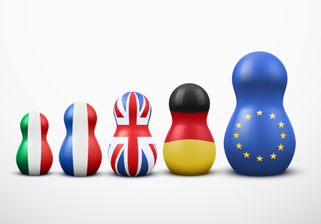 Main members of the European Union in the form of nesting dolls with flag colors. Vector Illustration.