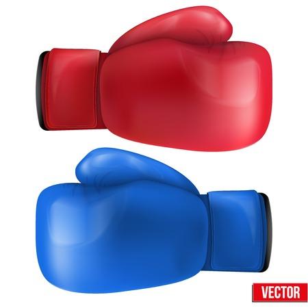 Guantes de boxeo aislados sobre fondo blanco. Ilustración vectorial realista.