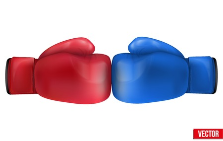 Two Boxing gloves in collision. Isolated on white background. Realistic vector illustration.