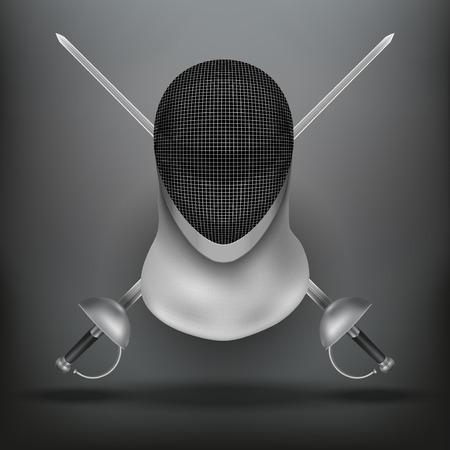 swordsmanship: Background of Fencing symbol. Epees and helmet mask. Traditional sport defense and attack. Vector illustration. Illustration