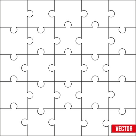 guidelines: Sample of jigsaw square puzzle blank template or cutting guidelines. Vector Illustration, editable and isolated.