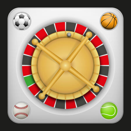 excitement: Symbol white roulette casino for sports betting with football soccer, baseball and tennis balls. Bright bookmaker icon of gambling excitement. Vector Illustration.