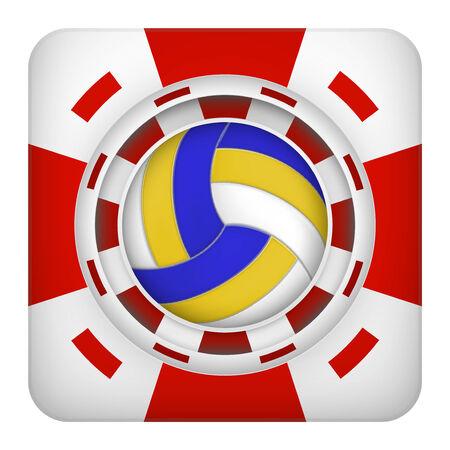 excitement: Площадь символ тотализатор чипы красный казино спортивных ставок с Волейбол мяч. Яркий значок букмекер игорного азарта. Векторные иллюстрации. Иллюстрация