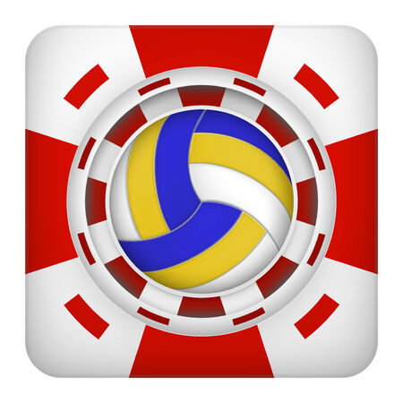 excitement: Square tote symbol red casino chips of sports betting with volleyball ball. Bright bookmaker icon of gambling excitement. Vector Illustration.