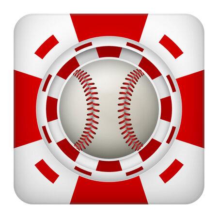 excitement: Площадь символ тотализатор чипы красный казино спортивных ставок с бейсбольный мяч. Яркий значок букмекер игорного азарта. Векторные иллюстрации.