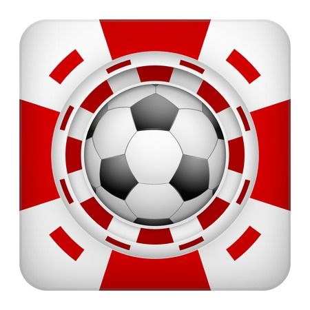 excitement: Площадь символ тотализатор чипы красный казино спортивных ставок с футбольным мячом. Яркий значок букмекер игорного азарта. Векторные иллюстрации. Иллюстрация