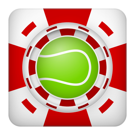 tote: Square tote symbol red casino chips of sports betting with tennis ball. Bright bookmaker icon of gambling excitement. Vector Illustration. Illustration