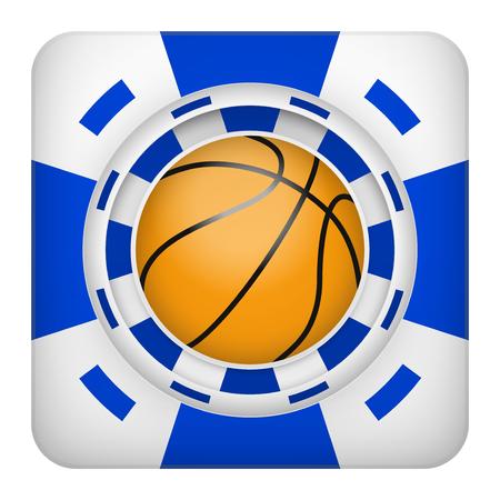 excitement: Площадь символ тотализатор чипы синий казино спортивных ставок с баскетбольного мяча. Яркий значок букмекер игорного азарта. Векторные иллюстрации.