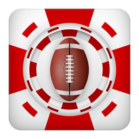 excitement: Площадь символ тотализатор чипы красный казино спортивных ставок с США футбольный мяч. Яркий значок букмекер игорного азарта. Векторные иллюстрации.