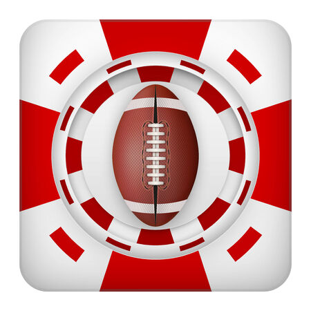 Square tote symbol red casino chips of sports betting with usa football ball. Bright bookmaker icon of gambling excitement. Vector Illustration. Vector