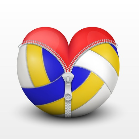 Red heart inside volleyball ball. Symbol of love for the sport. Vector illustration, isolated. Vector